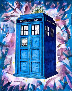 SALE Tardis Splat Doctor Who Fine Art Print Illustration Drawing Home Decor on Etsy, $10.00