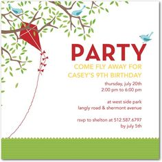 Birthday Party Invitations Kite Party - Front : Meadow