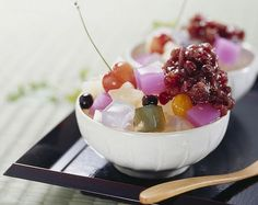 'Anmitsu' is a Japanese dessert since 1930 made of colorful agar cubes in…