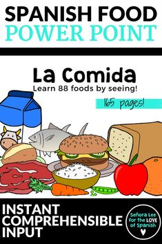 Spanish Food Vocabulary PowerPoint | Learn Spanish food vocabulary by seeing! Reinforce foods with 165 pages of 88 foods in Spanish. #spanishfood #comida #spanishvocabulary