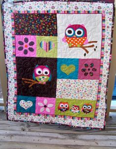 Owl Baby Quilt by SuryaQuilts on Etsy, $35.00