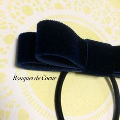 ハンドメイドアクセサリー ベルベット ネイビーリボンゴム♡  http://s.ameblo.jp/bouquet-de-coeur/  Handmade navy velvet ribbon hair accessory