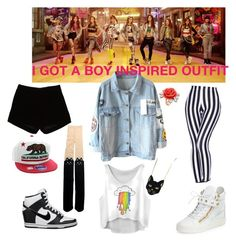 """""""SNSD """"I Got A Boy"""" Inspired Outfit"""" by kookie-the-seagull ❤ liked on Polyvore featuring moda, Andrew Gn, Giuseppe Zanotti, NIKE, Chicnova Fashion e Mawi"""