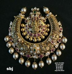 antique lakshmi chandbali pendant – boutiquedesignerjewellery.com