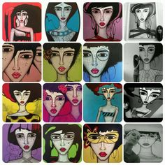 Paintings and drawings by Sandra Mucciardi Artwork Display, Painting & Drawing, Photo Galleries, Sketches, Faces, Paintings, Canvas, Abstract, Gallery