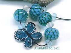 Green Spring lampwork bead set by Anastasia