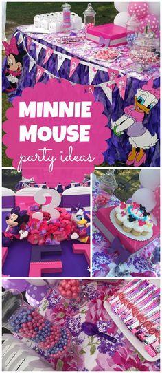 Here's a gorgeous pink and purple Minnie Mouse party! See more party ideas at CatchMyParty.com!