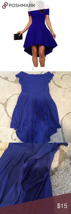 Brand new royal blue off shoulder dress Off shoulder never worn, bought of amazon no tags came with it a side zipper Dresses High Low