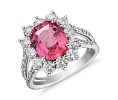 Fancy Orange-Pink Sapphire Halo Diamond Split Shank Ring in 18k White Gold