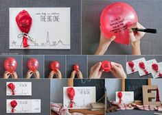 Find way to blow up without your mouth write message on balloon deflate and put in a basket or hat people choose a balloon and have to blow it up to see what their prize will be