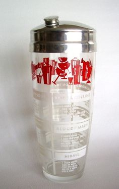 Vintage Barware Bar Glass Cocktail Shaker Chrome Lid with Recipes Mid Century