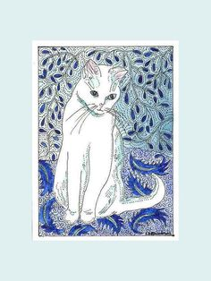 Kitty Cat in Blue and White Aceo by Theodora by THEODORADESIGNS, $7.00