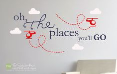 Oh The Places You'll Go Helicopters Clouds - Nursery or Bedroom Decor Ideas - Vinyl Wall Art Words Decals Graphics Stickers Decals 1863 by thestickerhut on Etsy Vinyl Wall Stickers, Vinyl Wall Art, Decals, Home Decor Bedroom, Nursery Decor, Nursery Ideas, Wall Sticker Inspiration, Helicopter Birthday, Big Boy Bedrooms