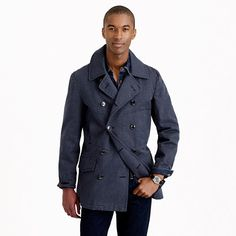 """This peacoat is the kind you'd find on a battleship back in the day (the """"day"""" being the 1930s). It's made of a mix of woolen yarns that give it a heathered appearance and, because the yarns are highly twisted, they're able to withstand the icy winds of the open sea as well as, say, the unforgiving cold that can be experienced at a Chicago bus stop in February. You get the idea. <ul><li>Cotton.</li><li>Waist pockets.</li><li>Lined.</li><li>Dry clean.</li><li>Import.</li><li>Online ..."""