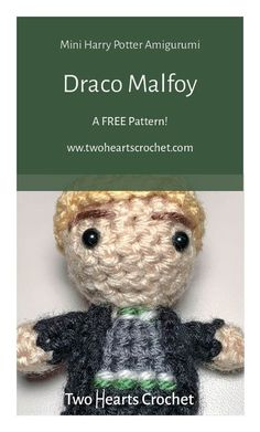 Crochet Draco Malfoy Doll Pattern  |  Harry Potter Malfoy Pattern  |  HP Amigurumi  |  Crochet Harry Potter Patterns  |  Mini Amigurumi  |  Crochet Dolls  |  Draco Malfoy Crochet