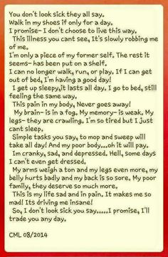 My mom has the worst case of Chronic Fatigue Syndrome and this describes it perfectly!!