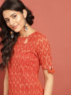 Buy Taavi Women Orange Woven Design Ikat Straight Kurta With Tassel Detai - Kurtas for Women 8340225 | Myntra Ikat, Kurti, Saree, Blouse, Bikinis, Tassel, Cotton, Orange, Tops