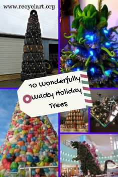 You don't have to buy a tree. Instead, make a tree using upcycled or recycled materials like these 10 Christmas Trees! Make a tree that is as unique and diverse as you are! 10 Christmas Trees Made Using Alternative Materials: Cheer-filled H Holiday Tree, Christmas Holidays, Christmas Crafts, Holiday Decor, Christmas Trees, Xmas, Old Glass Bottles, Recycle Plastic Bottles, Recycled Crafts Kids