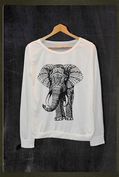 Elephant Animals Graphic Pop Rock Shirt Long Sleeve Jumper Women Freesize on Etsy, $18.99