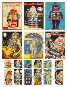 ビンテージ Sci Fi レトロ ロボット 2 号デジタル ダウンロード コラージュ シート 1 1 by monbonbon