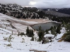 What a surprise to wake up to snow. #snow #lake #beautiful #hiking #adventure #Sisters #oregon #fun #friends #happy #love