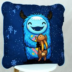 Baby Pillow for Girl and Boy yeti blue Nuva Handmade Minky
