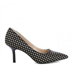France pointed toe heel - Black Cream Multi
