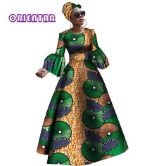 Image of 2018 African dresses for women New African dashiki rche dress for women Africa women long sleeves party dress plus size African Maxi Dresses, African Dresses For Women, African Attire, African Wear, African Outfits, African Fashion Designers, African Inspired Fashion, African Print Fashion, African Fashion