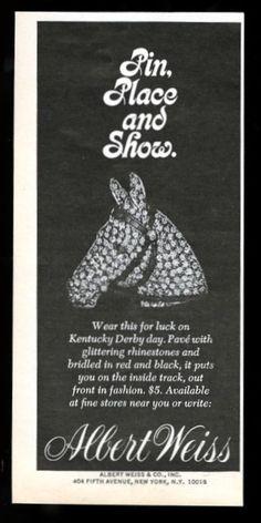 1968 Albert Weiss Costume Jewelry Rhinestone Horse Pin Advertisement