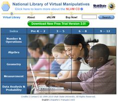 National Library of Virtual Manipulatives nlvm.edu/ A digital library containing Java applets and activities for mathematics. Math Sites, Math Activities, Teacher Resources, Kids Sites, Homeschooling Resources, Homeschool Math, School Resources, Math Teacher, Teaching Math