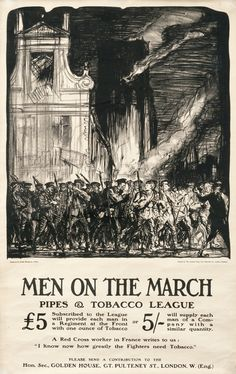 1915 C Men on the March - Pipes & Tobacco League by Brangwyn, Frank, UK