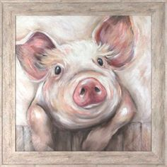 Lola Pig X Framed Wall Art Pink - The epitome of sweetness, the whimsical Lola Pig Wall Art brings a charming farmhouse touch to any room decor. This adorable portrait comes framed and ready to hang, ready to be the center of attention on your wall. Farm Paintings, Animal Paintings, Cow Painting, Painting & Drawing, Outdoor Wall Art, Indoor Outdoor, Arte Peculiar, Pig Drawing, Pig Art