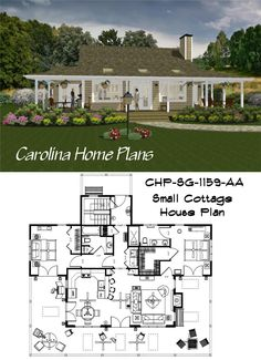 Enjoy the large, inviting covered porch in this Cottage Style Home Plan 2 Bedroom House Plans, Porch House Plans, Bungalow House Plans, Cottage House Plans, Open Floor House Plans, Small House Plans, Floor Plan Layout, Cottage Style Homes, Bedroom Layouts
