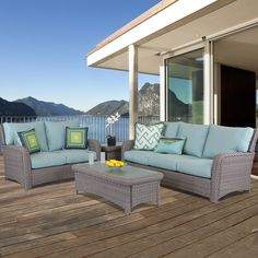 South Sea Rattan Saint Tropez Deep Seating Group with Cushion Outdoor Wicker Patio Furniture, Rattan Furniture, Outdoor Sofa, Cool Furniture, Outdoor Living, Outdoor Decor, Antique Furniture, Furniture Ideas, Outdoor Seating