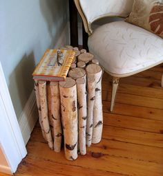 DIY birch end table. PS: I also like the idea of a bundle of birch logs for our fireplace log holder :)