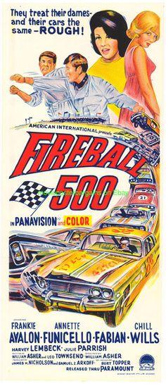 FIREBALL 500 MOVIE POSTER AUSTRALIAN DB 1966 STOCK CAR RACING ANNETTE FUNICELLO…