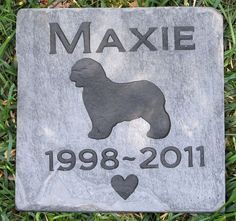 Personalized Pet Memorial Stone Grave Markers Old English Sheepdog & Other Breeds 6 x 6 Inch Memorial Pet Stone Grave Tombstone Marker #burial_stone_marker #dog_memorial #dog_memorial_stone