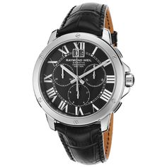 Crafted with a sleek classic shape, this Raymond Weil men's watch features stainless steel construction and a black strap and dial for a masculine look. Three subdials add convenience while a Swiss quartz movement keeps accurate time.