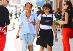 Street Style: New York Fashion Week Spring 2014 Margaret Zhang (left) Photographed by Phil Oh - LOVE this!