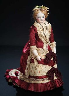 Original French Bisque Poupee, Dehors Articulation, Bisque Arms, Couturier Costume 4000/6000