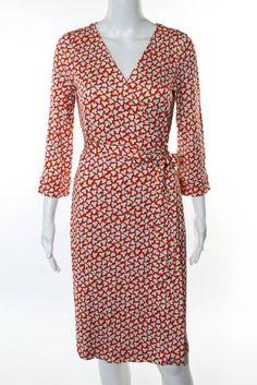 Diane Von Furstenberg Multi-Color Floral Silk Wrap Dress Size 12 New $398 JG08 #DianeVonFurstenberg #WrapDress #Casual