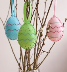How to sew felt easter egg ornaments. Perfect project for children, as wool felt is easy to stitch.