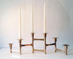 Fantastic Mid Century Articulating/ Folding Solid Brass Candelabra/ 6 candle Brass Candle Holder Adjustable/ Minimalist Candelabra MCM Decor