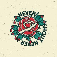 Never Shout Never by Justin Graziano // http://j-graz.com #traditionaltattoo #tattoo #rose #flower #nevershoutnever