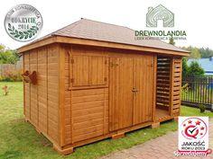 Domek narzędziowy Kacper - 4,5x3m Domki narzedziowe z drewna Opis konstrukcji wymiar 4,5x3m w tym pomieszczenie 3x3 i drewutnia 1,5x3m po obrysie podstawy(dach jest wypuszczony z każdej strony po ok 25cm) domek wykonany Shed, Outdoor Structures, Barns, Sheds