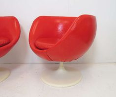 Pair of Space Age Swivel Lounge Chairs d. 1972 | From a unique collection of antique and modern swivel chairs at http://www.1stdibs.com/furniture/seating/swivel-chairs/