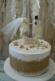Seahorse wedding cake topper-ivory seahorse-beach wedding-beach ...