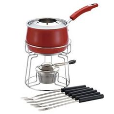 Stainless steel fondue set with six forks and a red pot.   Product:  (6) Forks   (1) Fondue stand    (1) Fork holder  (1) Fuel holder (1)  Snuffer  (1)  2-Quart saucepan    Construction Material: Stainless steelColor: RedFeatures: 350F Oven safe temperatureDimensions: 5.25 H x 10.5 W x 16.5 D (overall) Note: Dishwasher safe