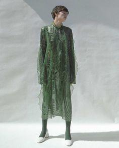 Green Sheer Organza Dress 0