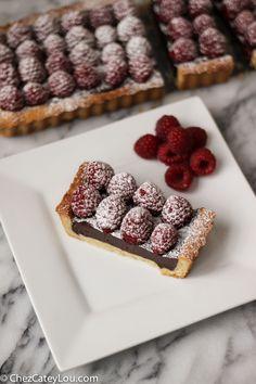 Raspberry Chocolate Tart   ChezCateyLou.com